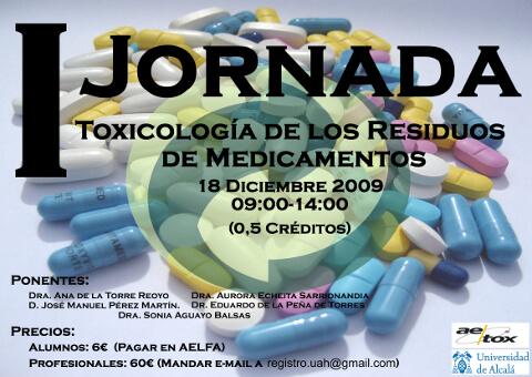 I Jornada Toxicología de los Residuos de Medicamentos