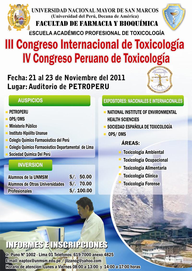 III Congreso Internacional y IV Congreso Peruano de Toxicología
