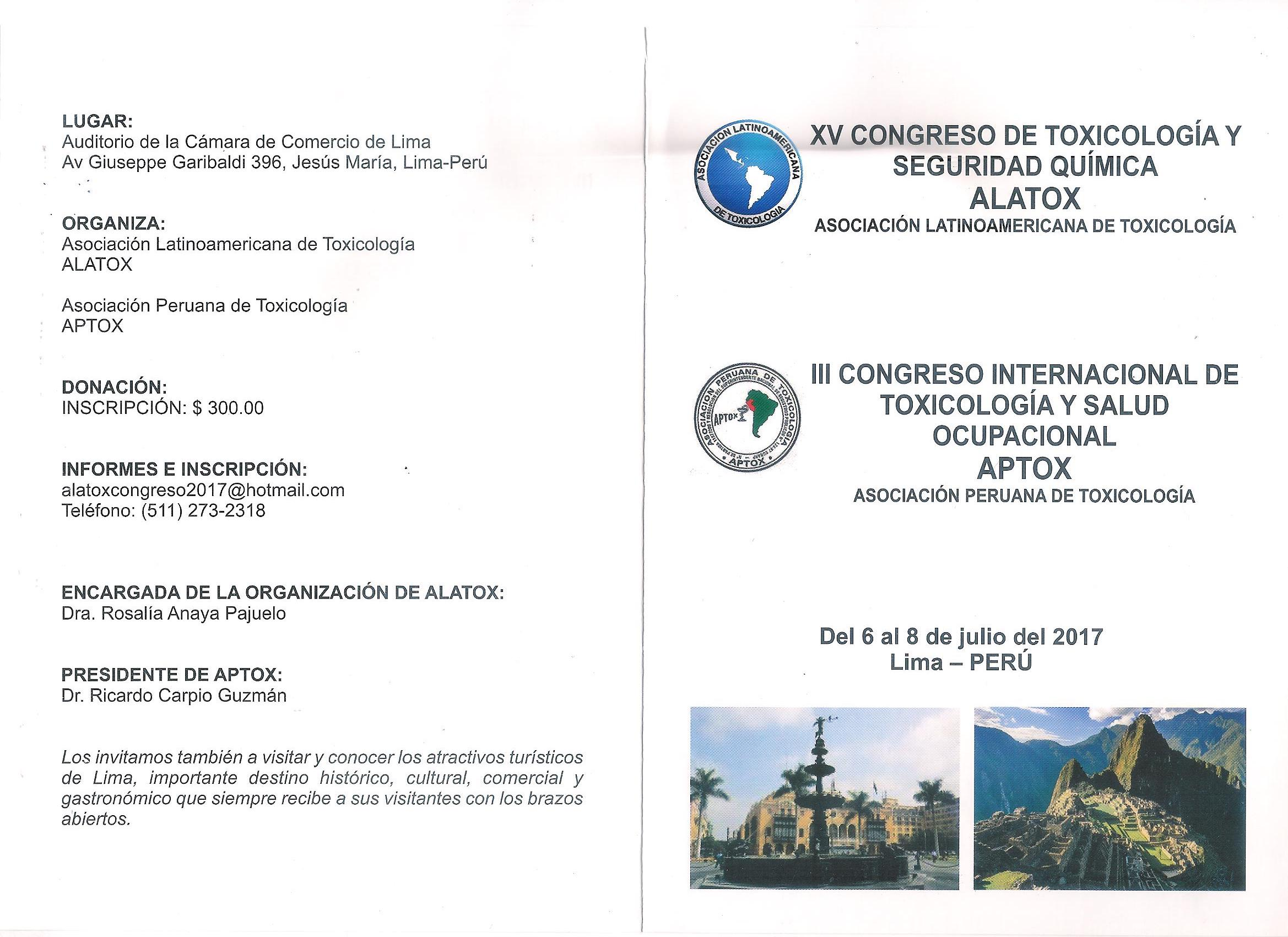 XV Congreso ALATOX - III Congreso APTOX