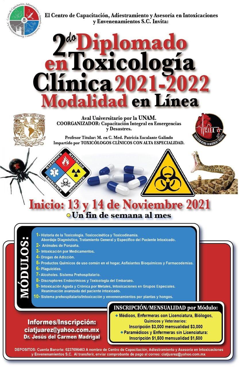 2º Diplomado en línea de Toxicología Clínica 2021–2022